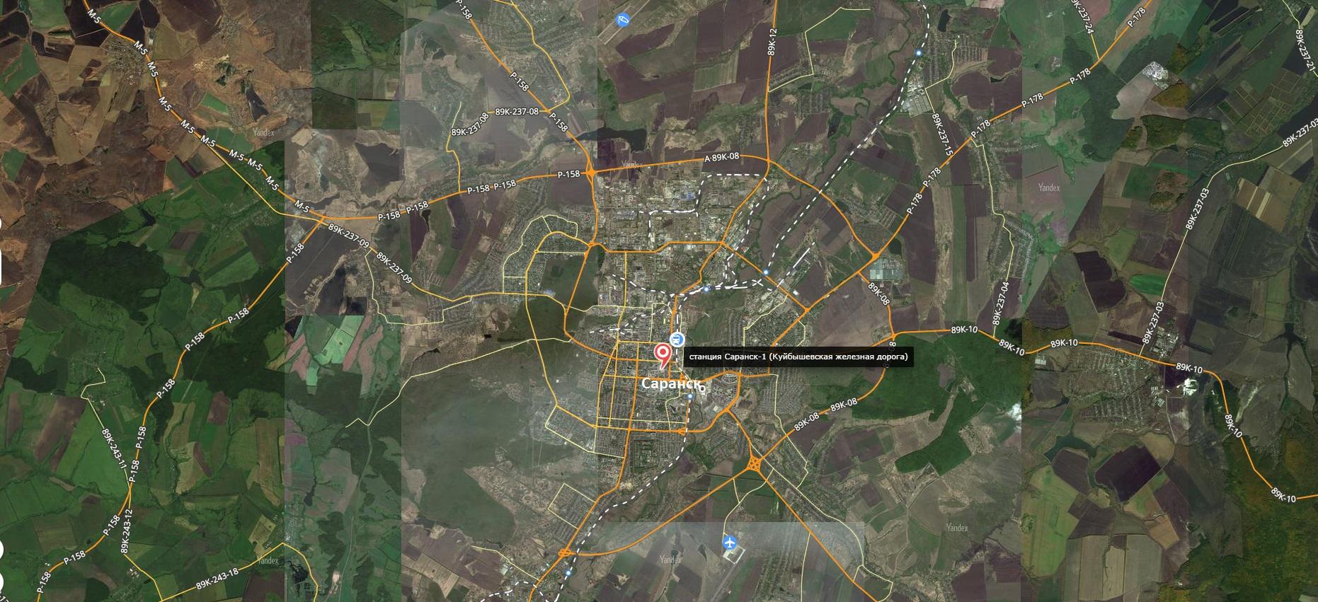 Карта города Саранск с дорогами
