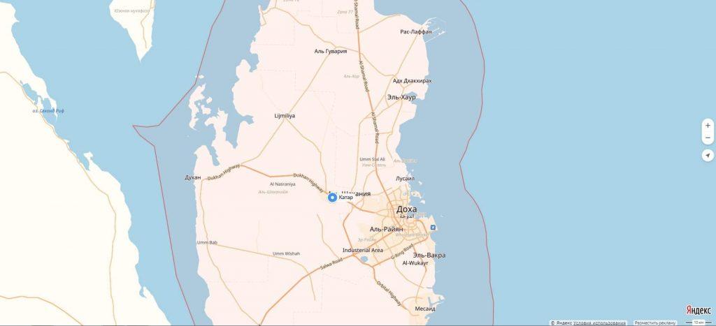 Карта Катара с городами