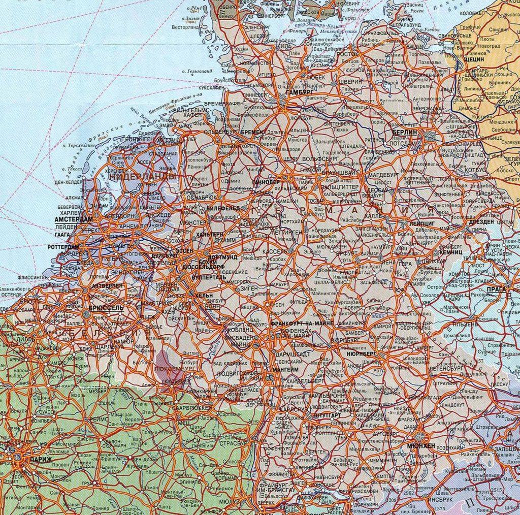 Карта Германии на русском языке с городами подробно