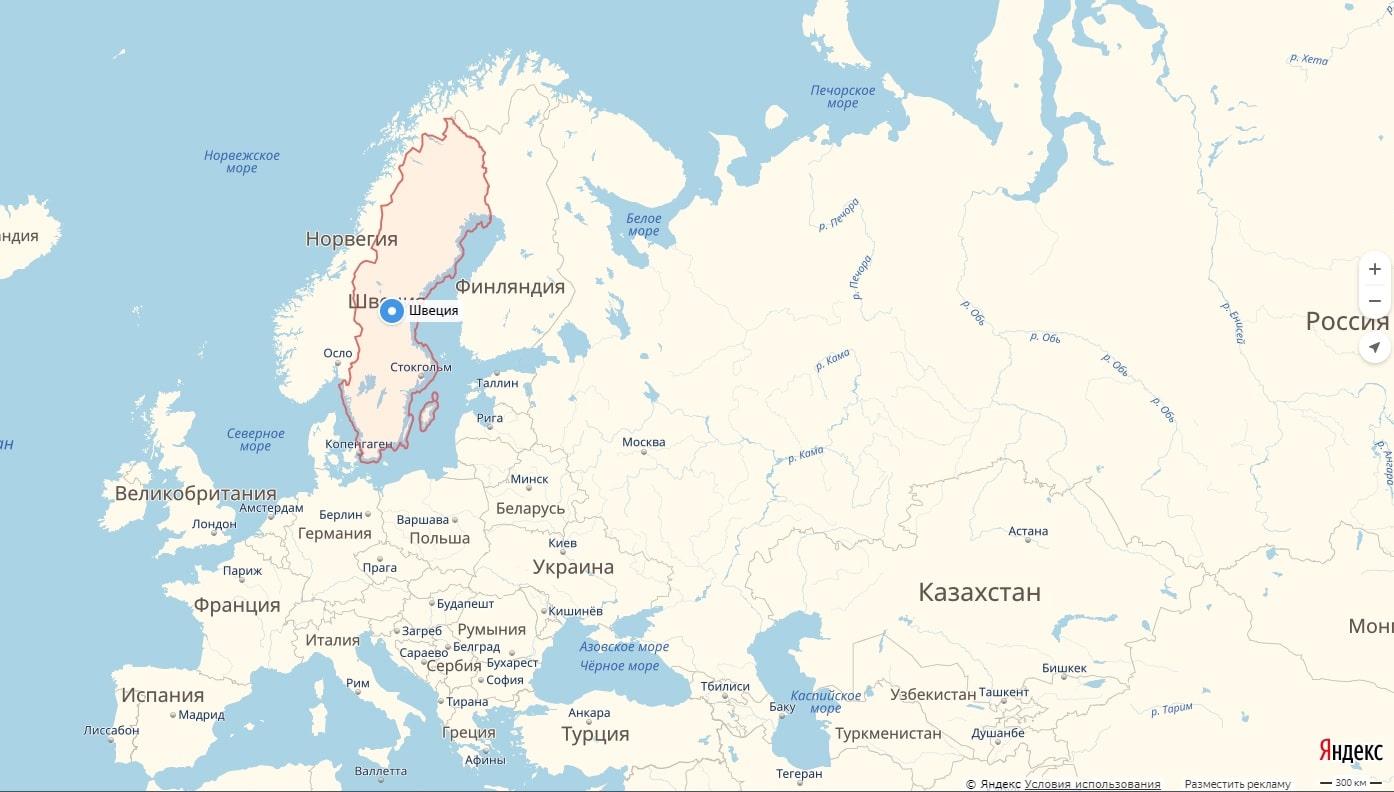 Shveciya Na Karte Mira Na Russkom Yazyke S Gorodami Podrobno