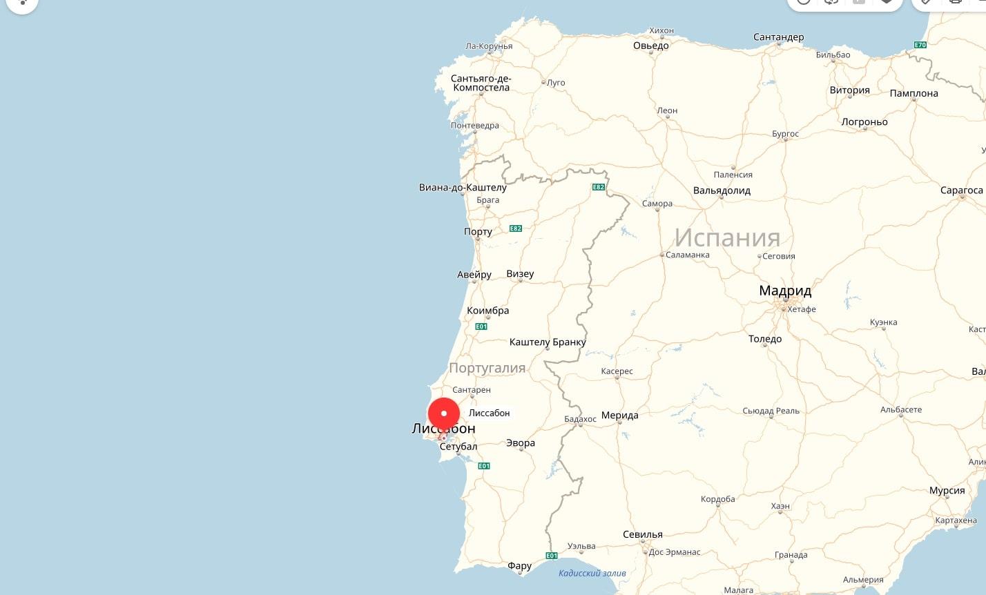 Лиссабон на карте Португалии
