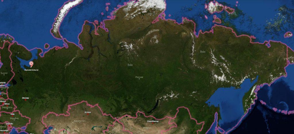 Архангельск на карте России