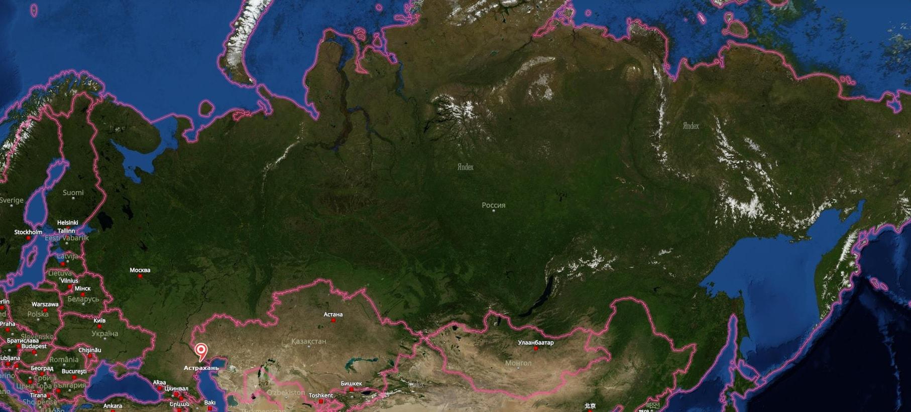 Астрахань на карте России
