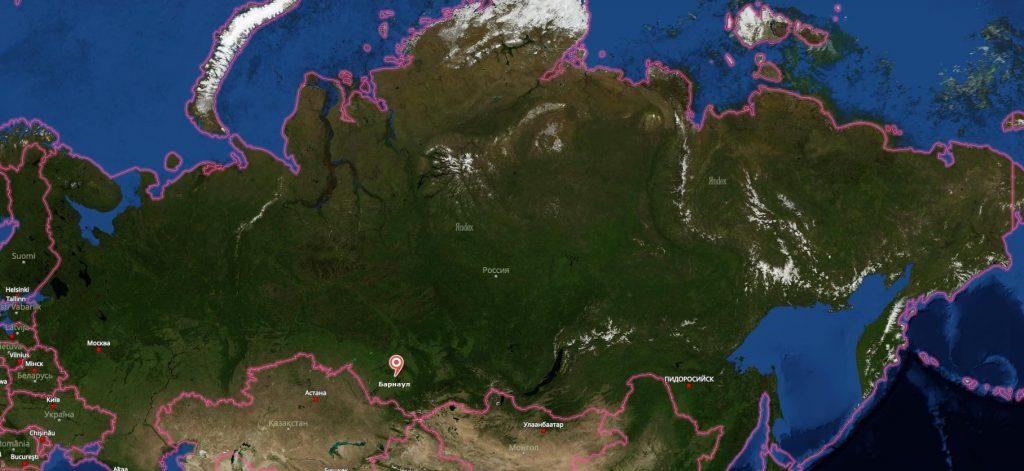 Барнаул на карте России