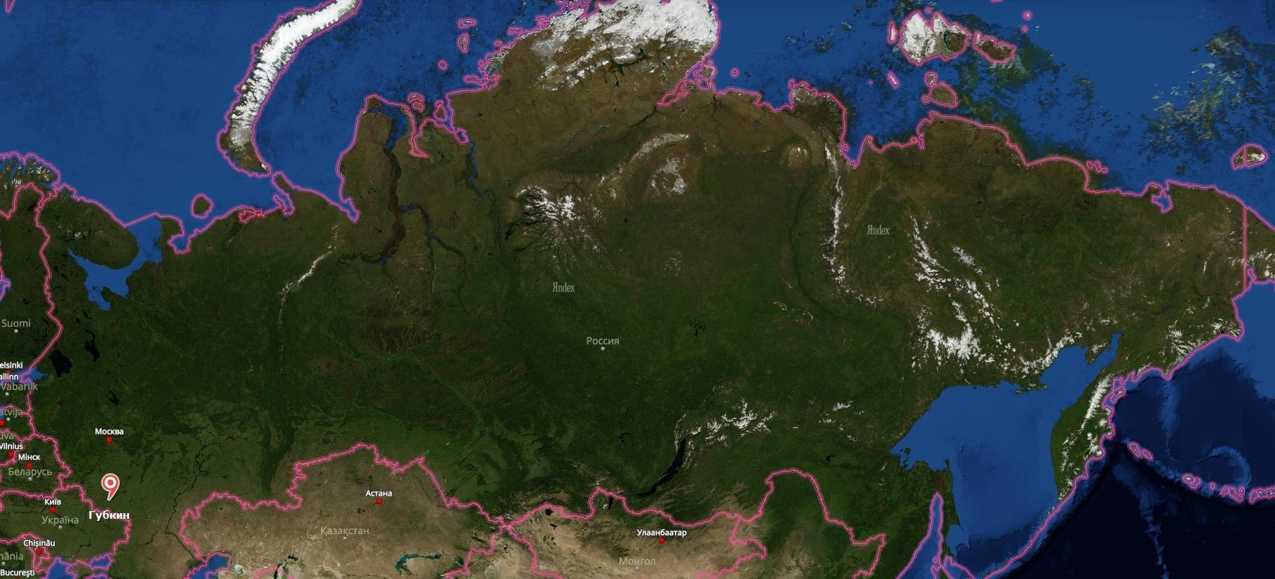 Губкин на карте России