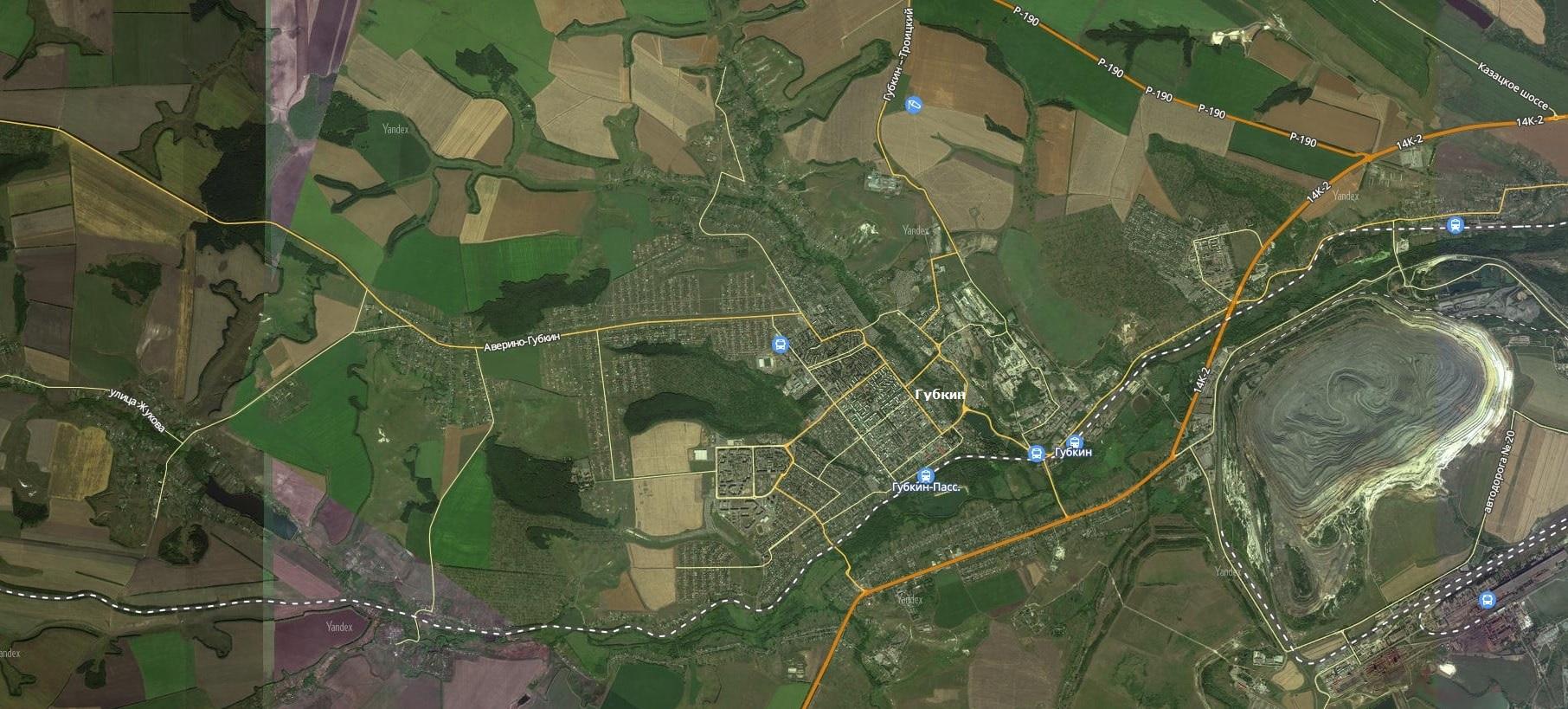 Карта города Губкин с дорогами. Транспортная инфраструктура-min