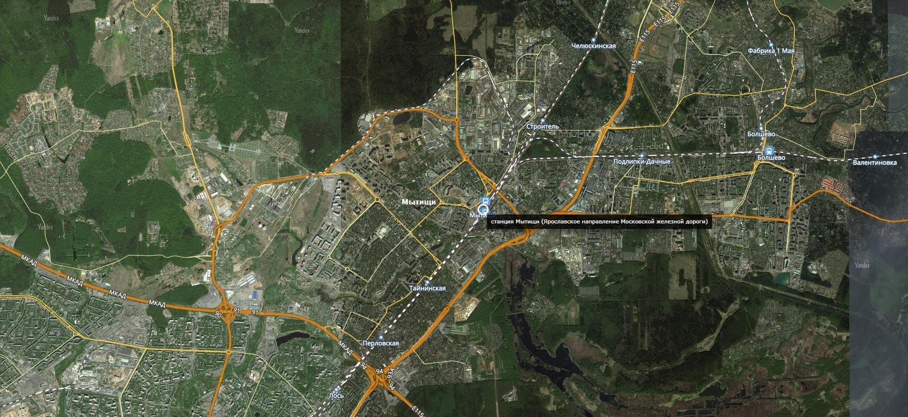 Карта города Мытищи с дорогами. Транспортная инфраструктура