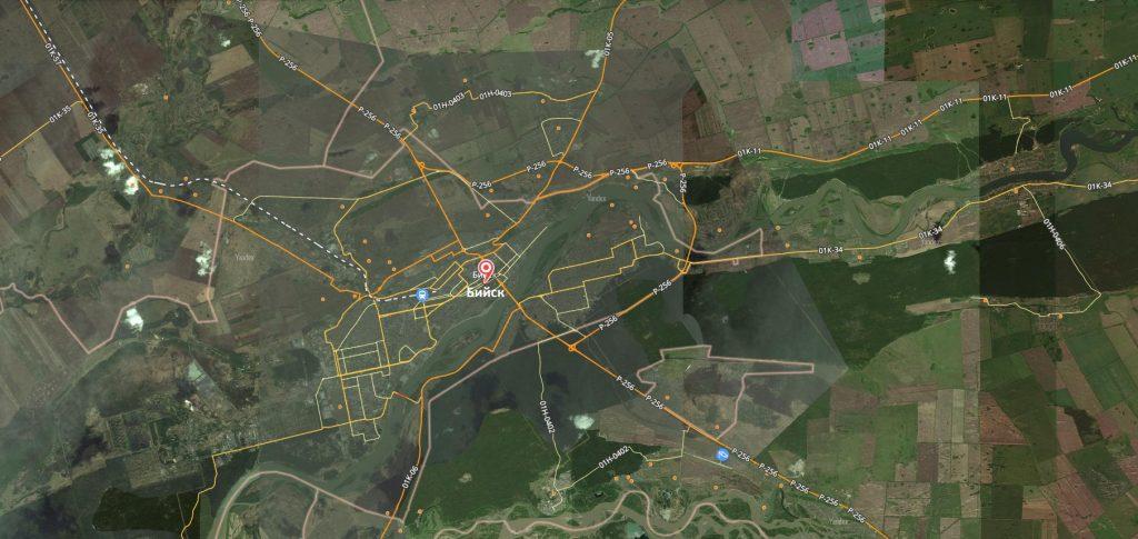 Маршруты на карте Бийска