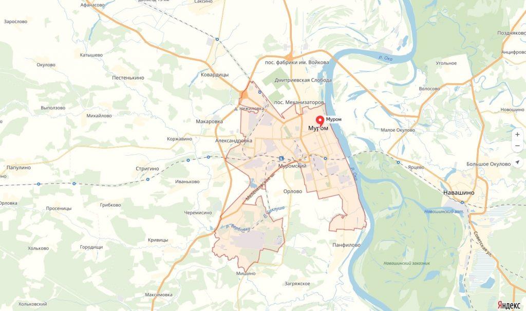 Карта Мурома Владимирская область