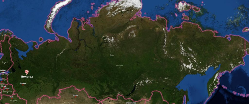 Вологда на карте России