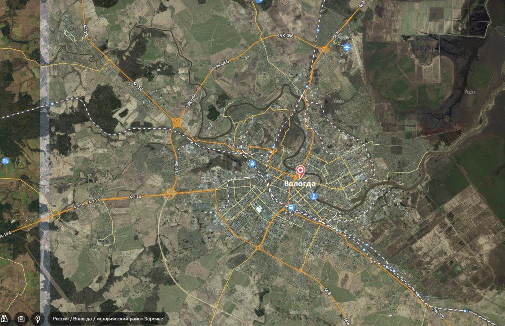 Маршруты на карте Вологды