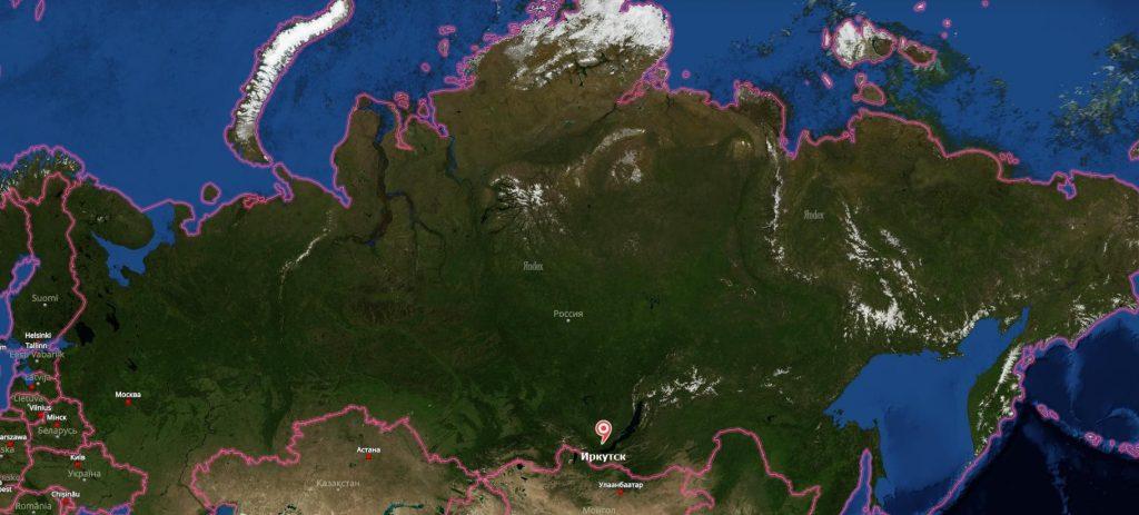 Иркутск на карте России-min