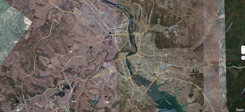 Карта города Иркутск с дорогами. Транспортная инфраструктура-min