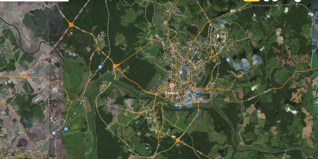 Карта города Калуга с дорогами