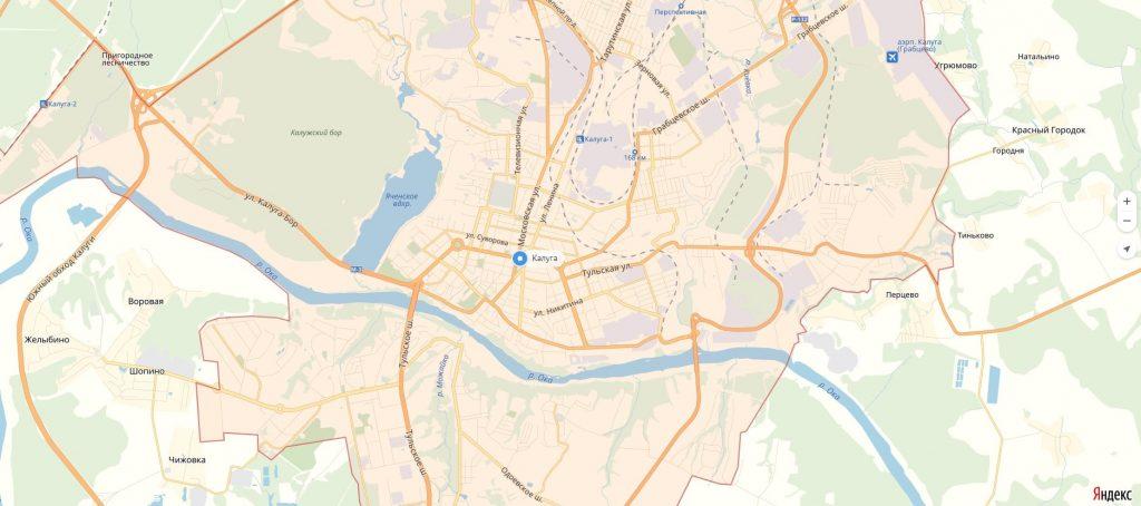 Карта Калуги с улицами и домами