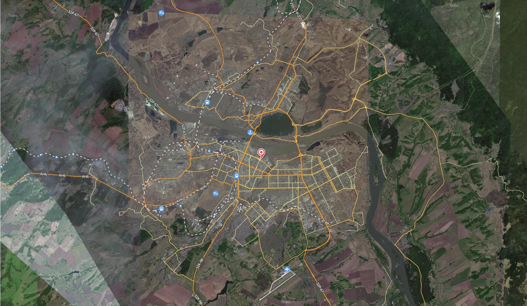 Карта города Кемерово с дорогами. Транспортная инфраструктура-min