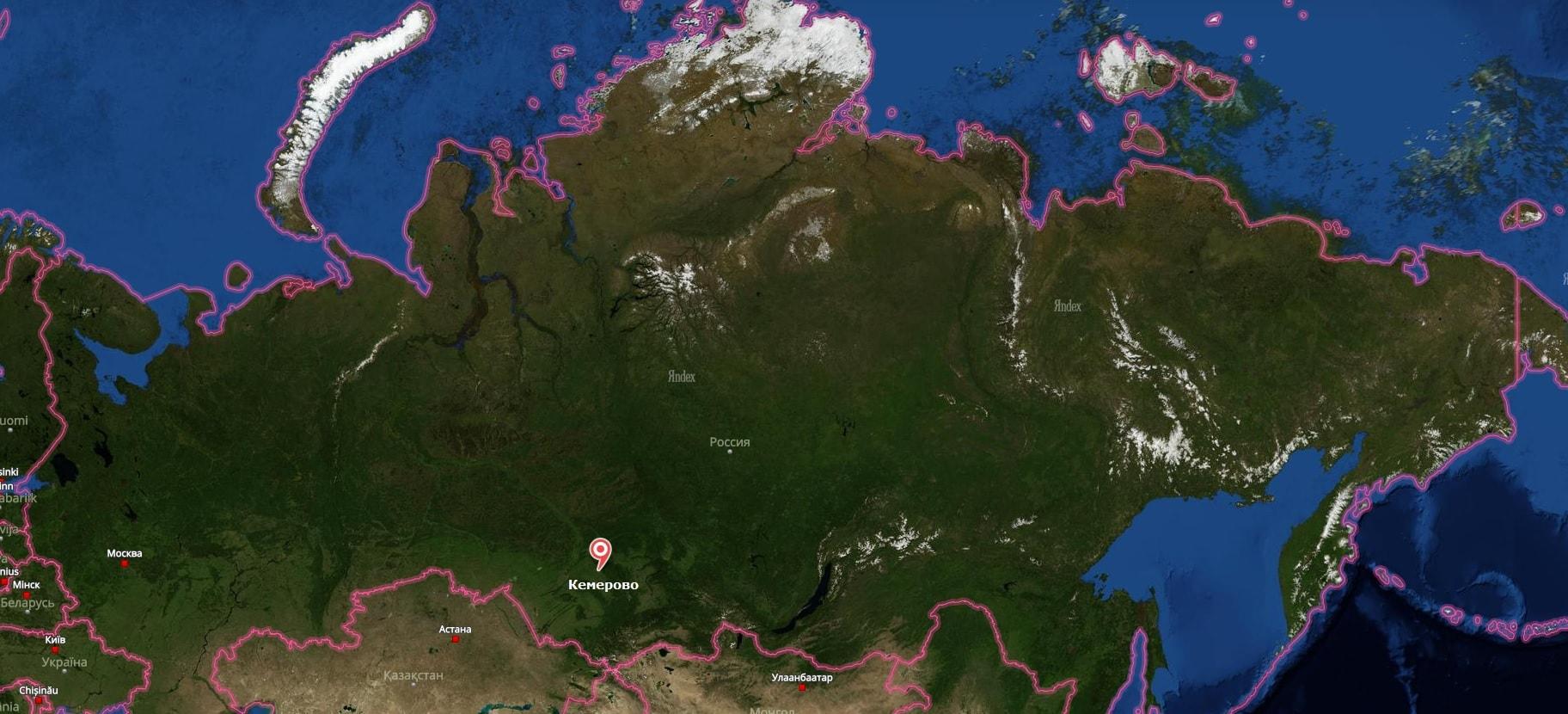 Кемерово на карте России-min