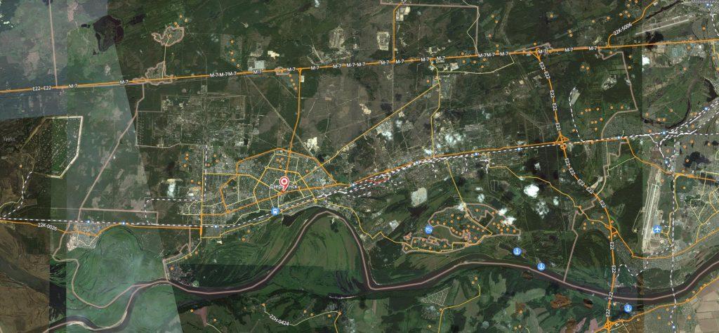 Маршруты на карте Дзержинска