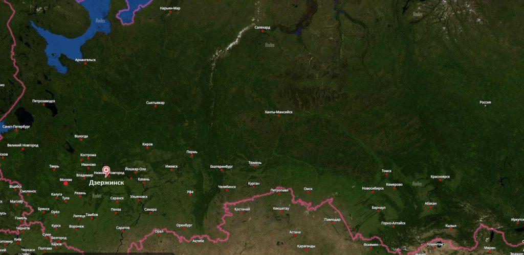 Дзержинск на карте России