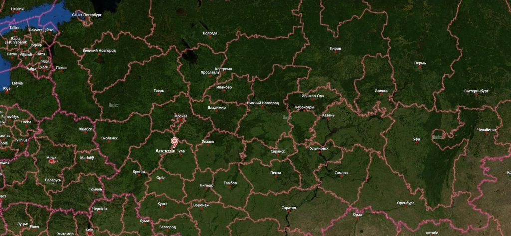 Алексин на карте России-min