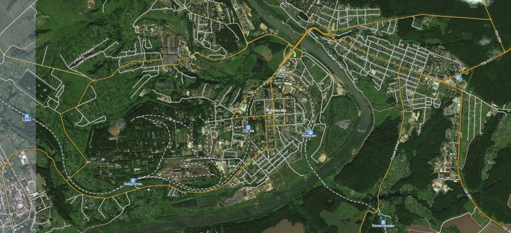 Карта города Алексин с дорогами. Транспортная инфраструктура-min