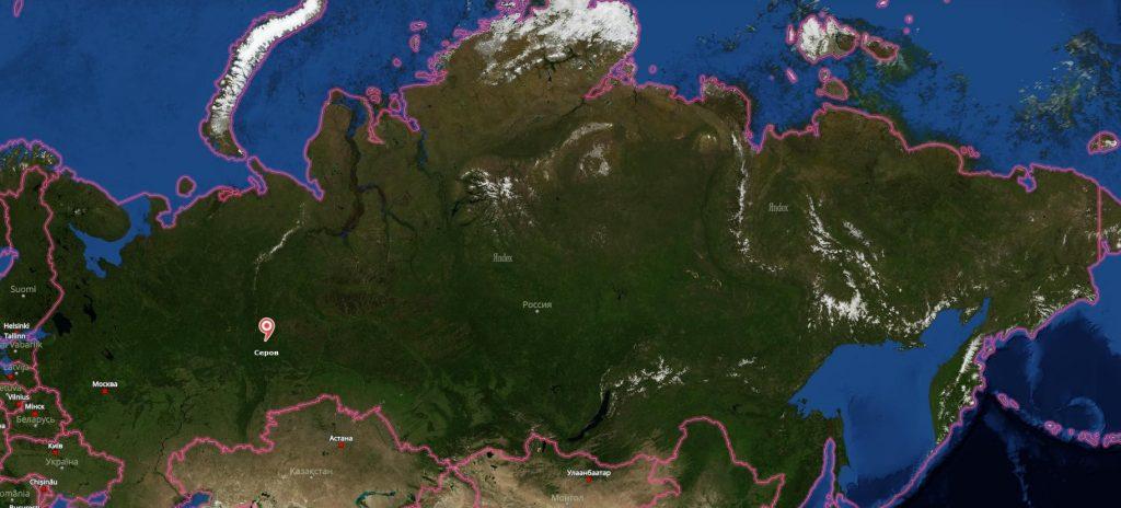 Серов на карте России