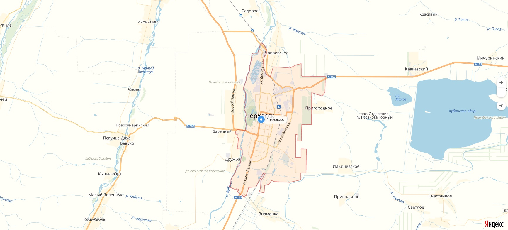 Карта Черкесска Карачаево-Черкесская республика