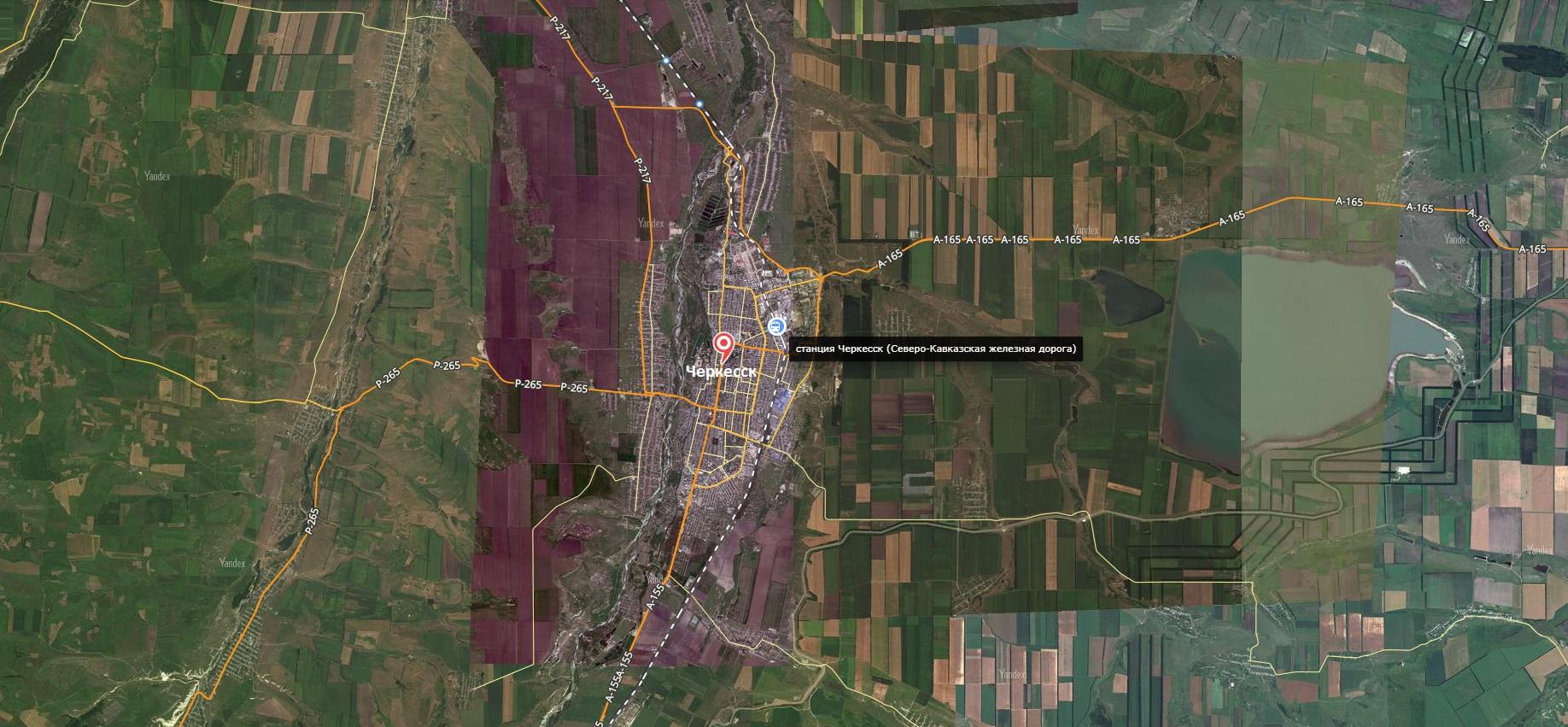 Карта города Черкесск с дорогами