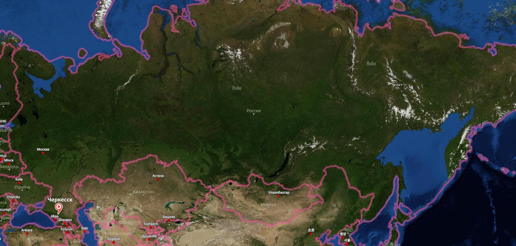 Черкесск на карте России