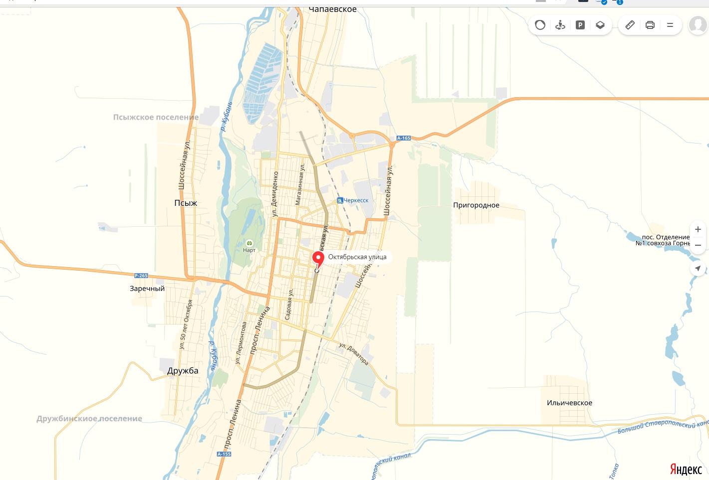 Карта Улицы Октябрьская Черкесска