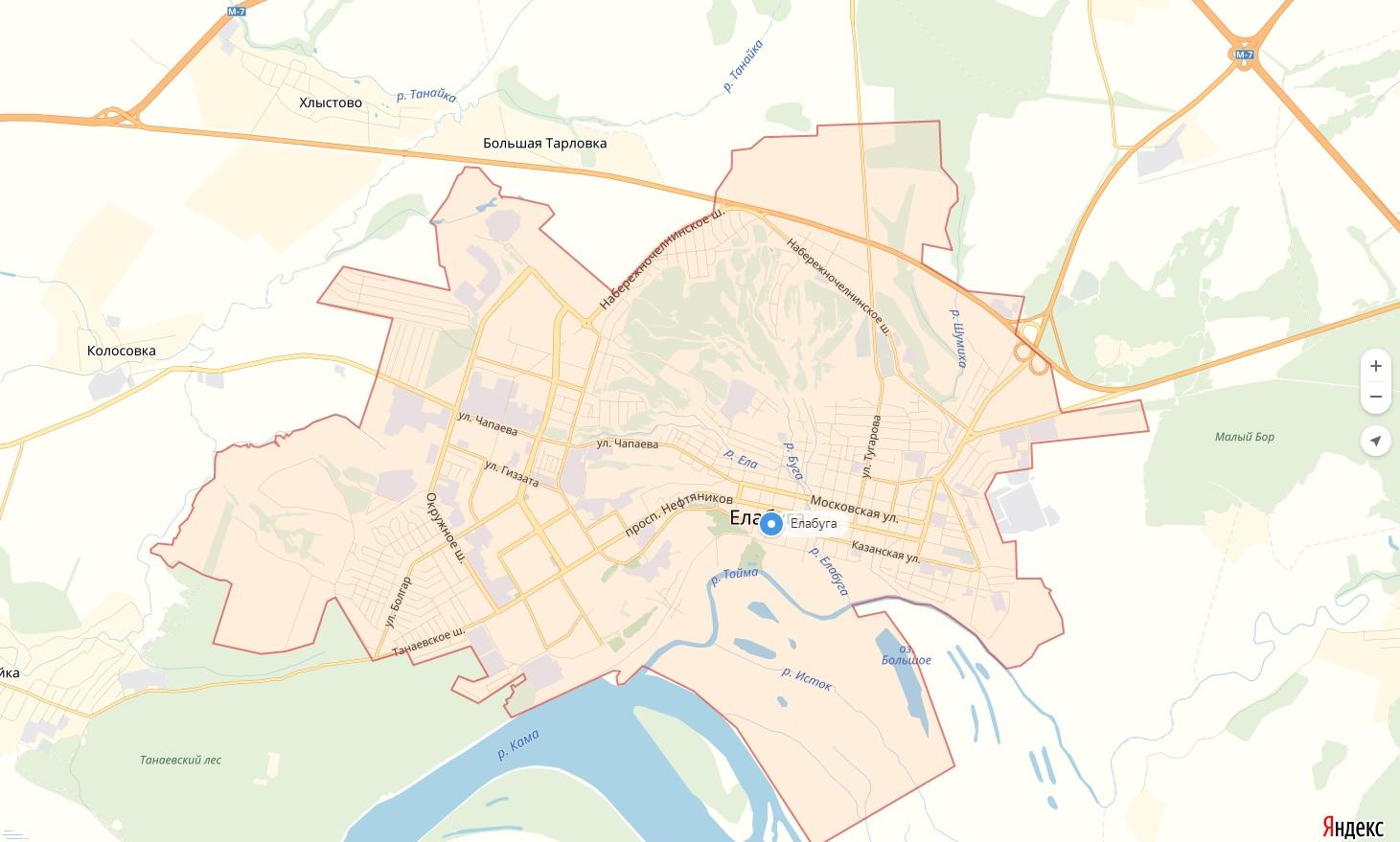 Карта Елабуги Республика Татарстан