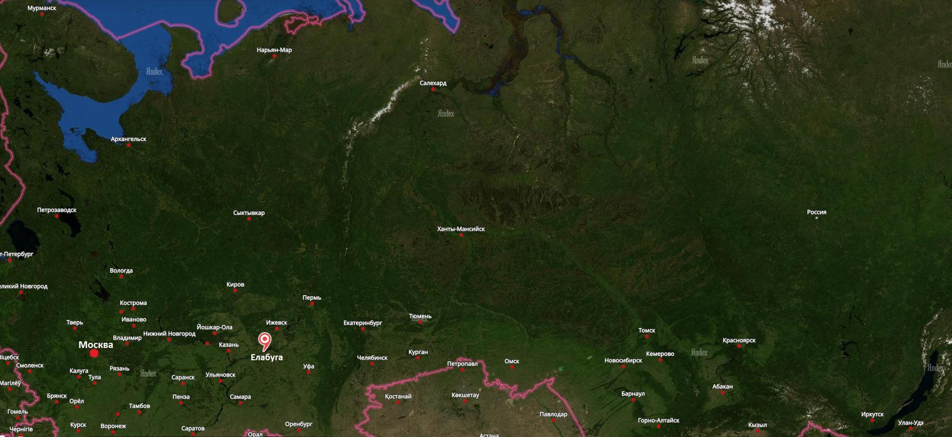 Елабуга на карте России