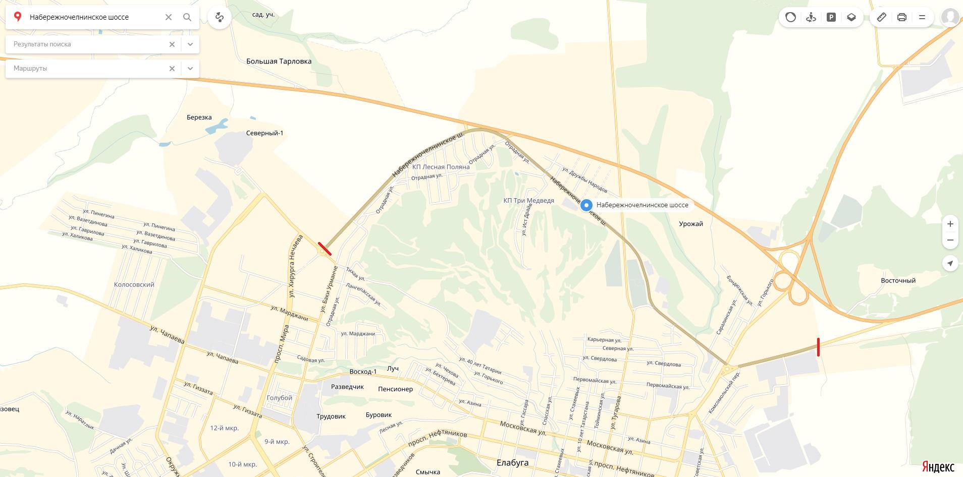 Карта Набережночелнинского шоссе Елабуги