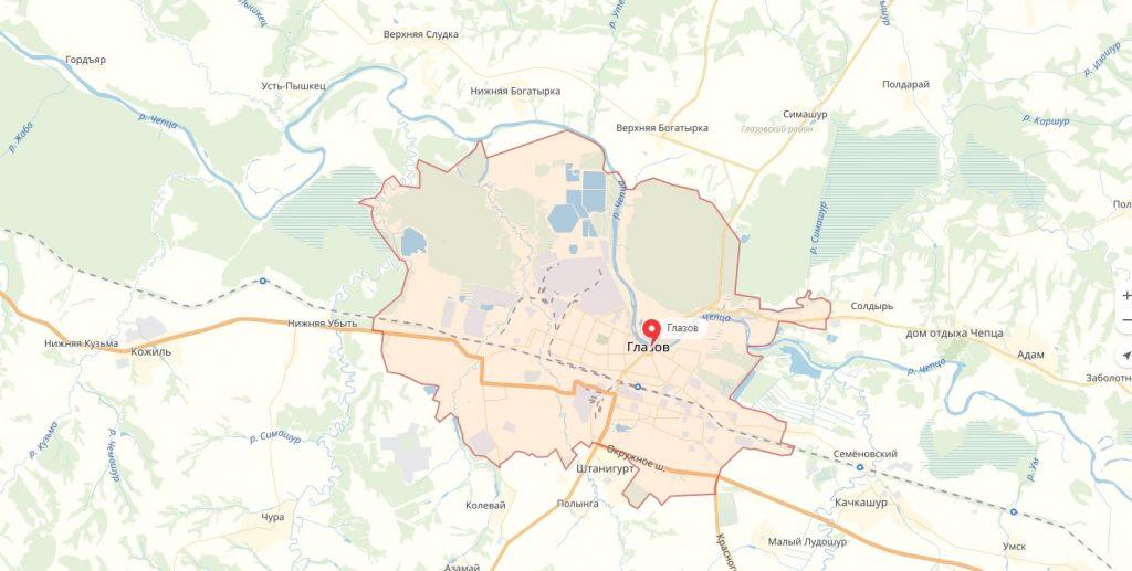 Карта Глазова Удмуртская Республика