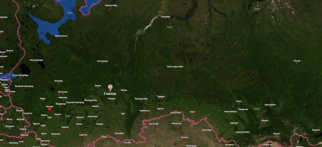 Глазов на карте России