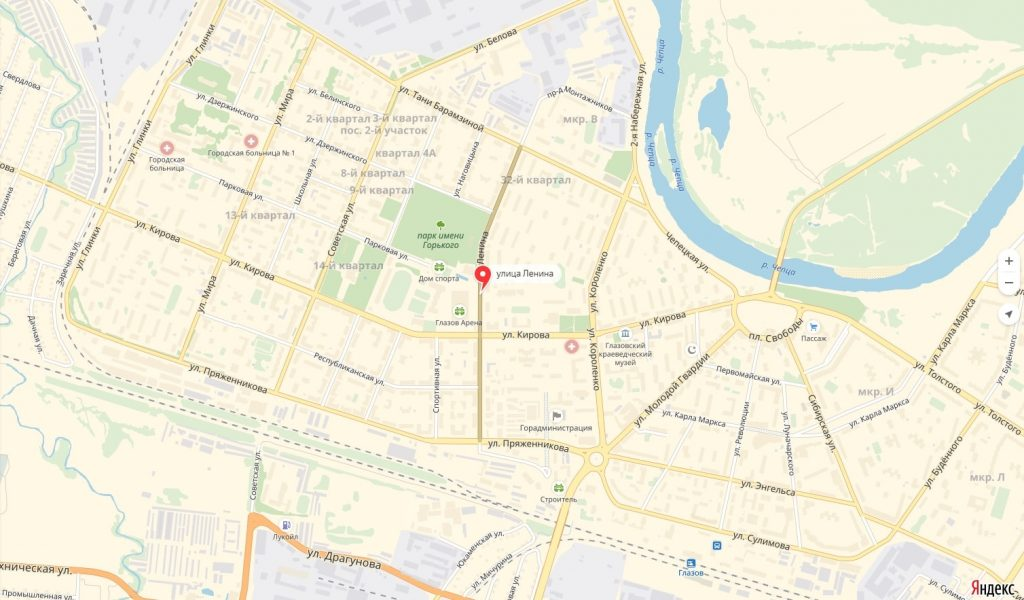 Карта Улицы Ленина Глазова