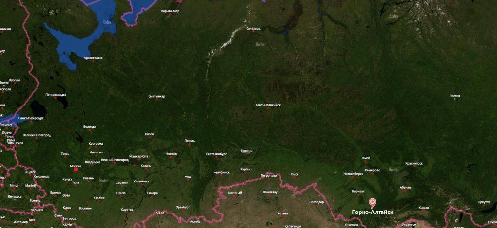 Горно-Алтайск на карте России
