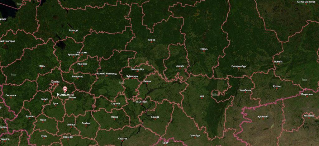 Коломна на карте России