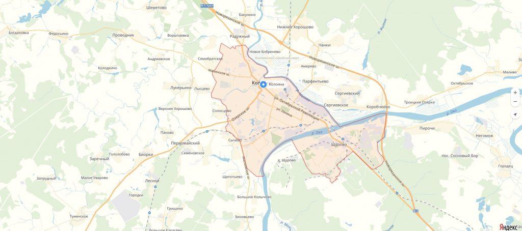 карта Коломны Московской области
