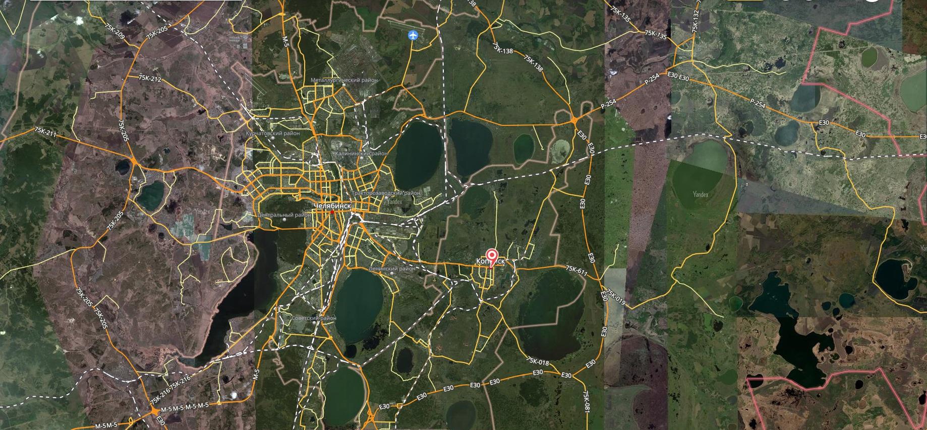 Карта города Копейск с дорогами