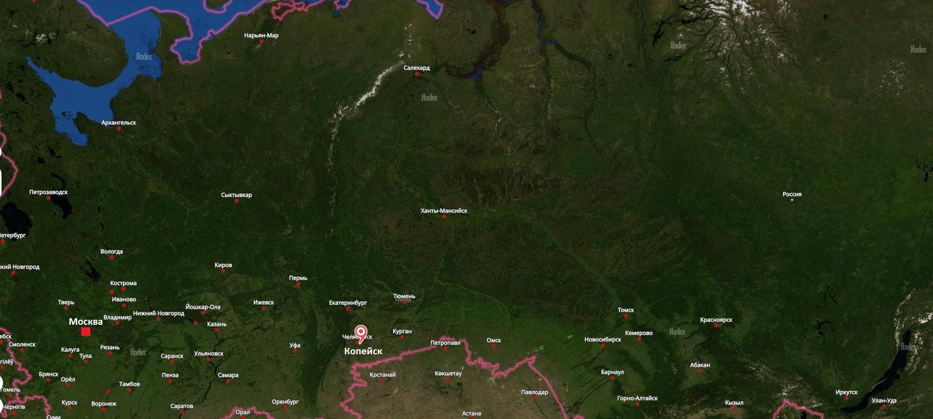 Копейск на карте России
