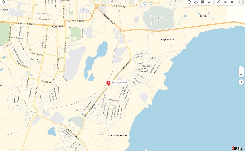 Карта Улицы Дундича Копейска