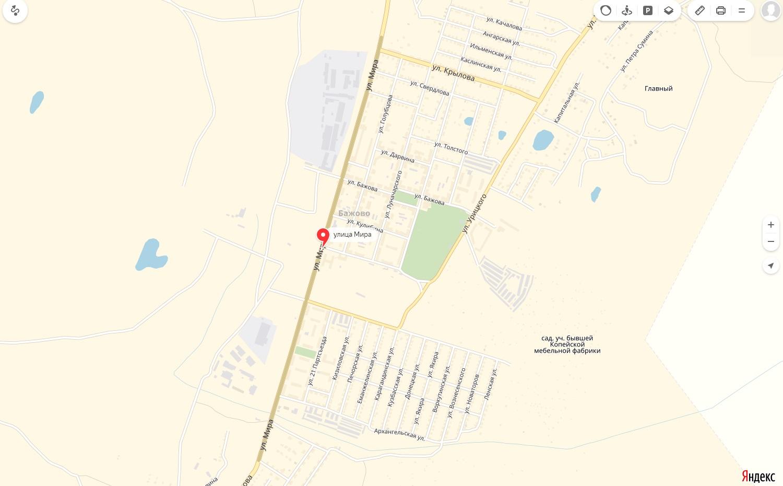 Карта Улицы Мира Копейска