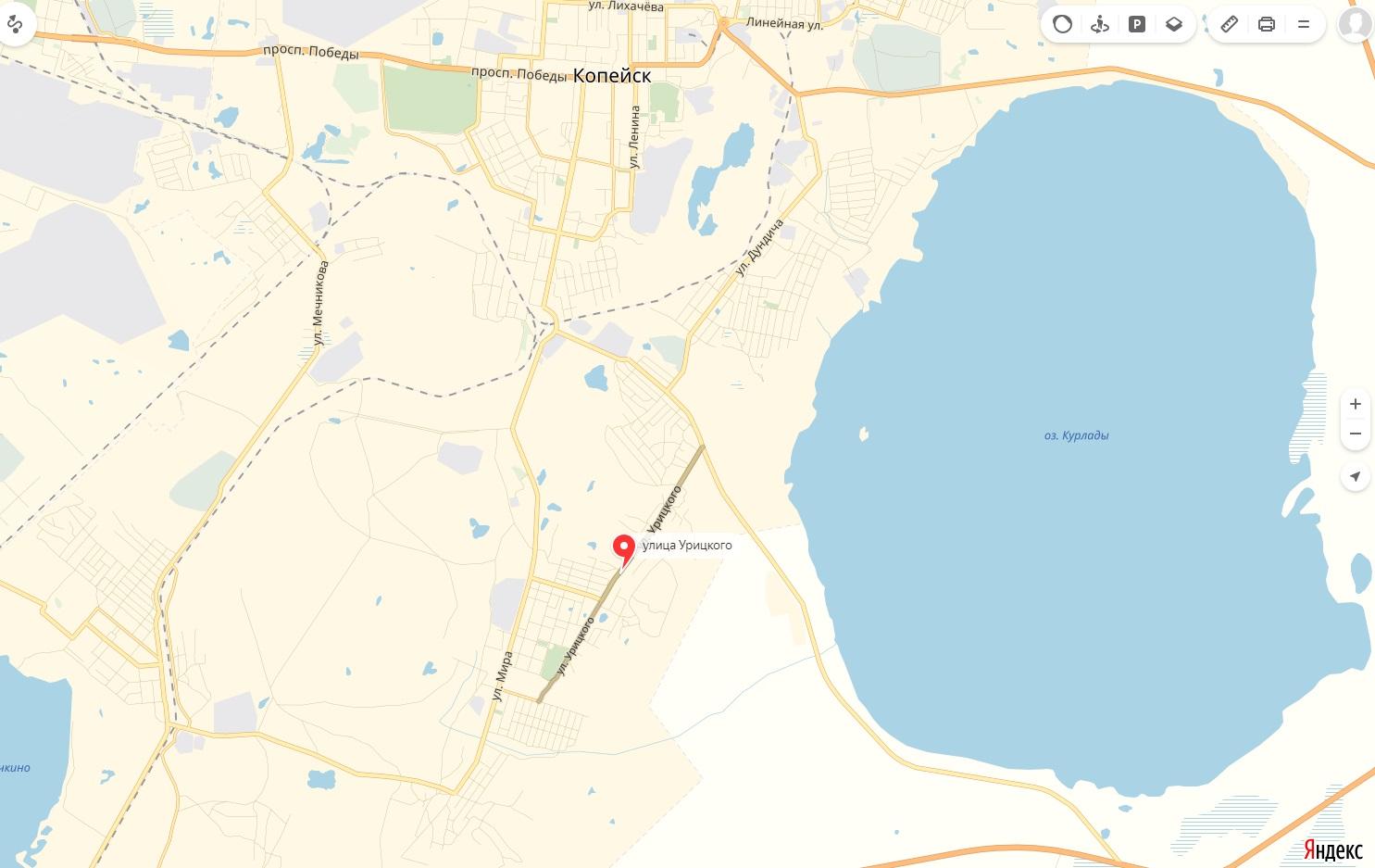Карта Улицы Урицкого Копейска