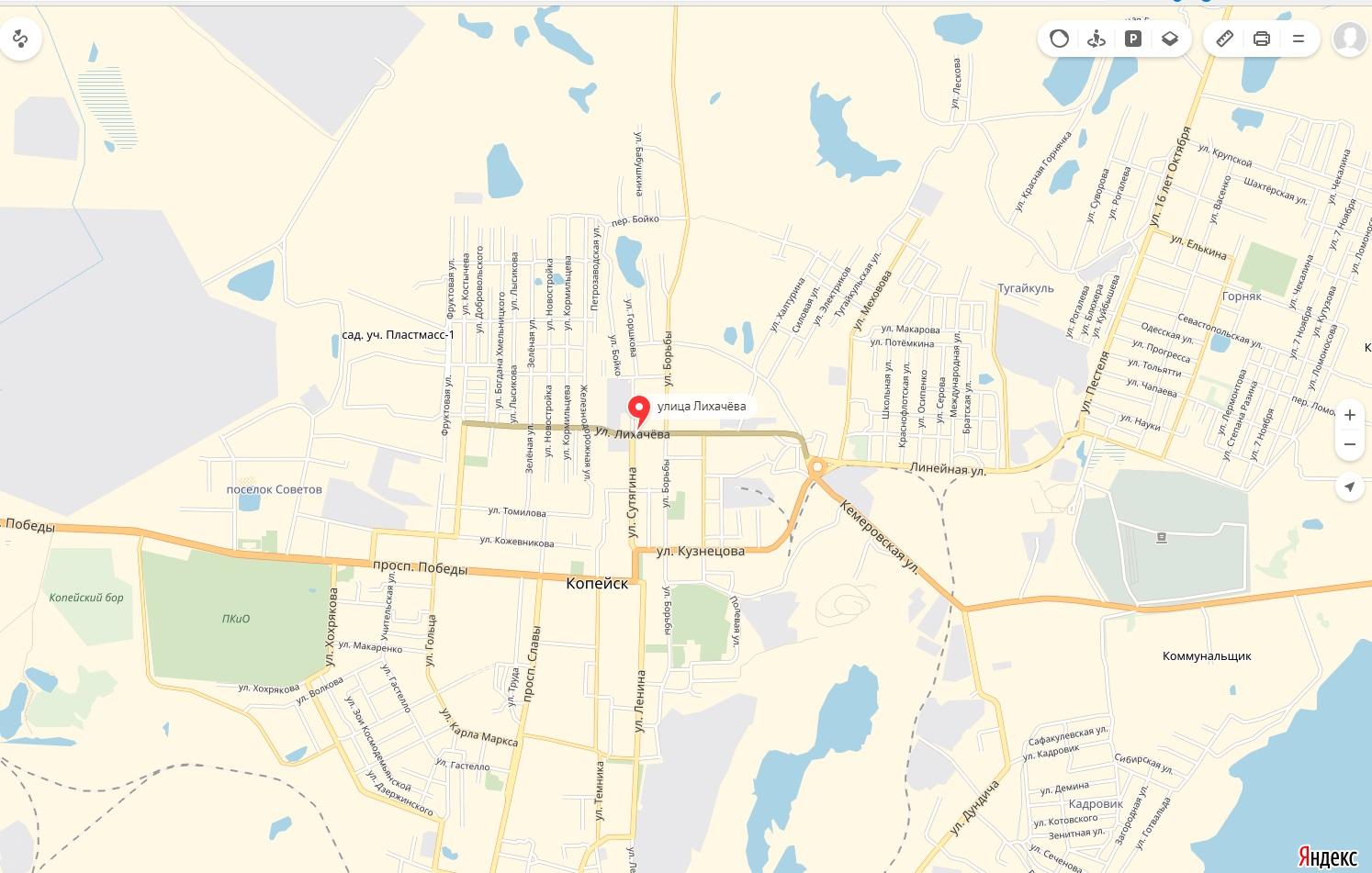 Карта Улицы Лихачева Копейска