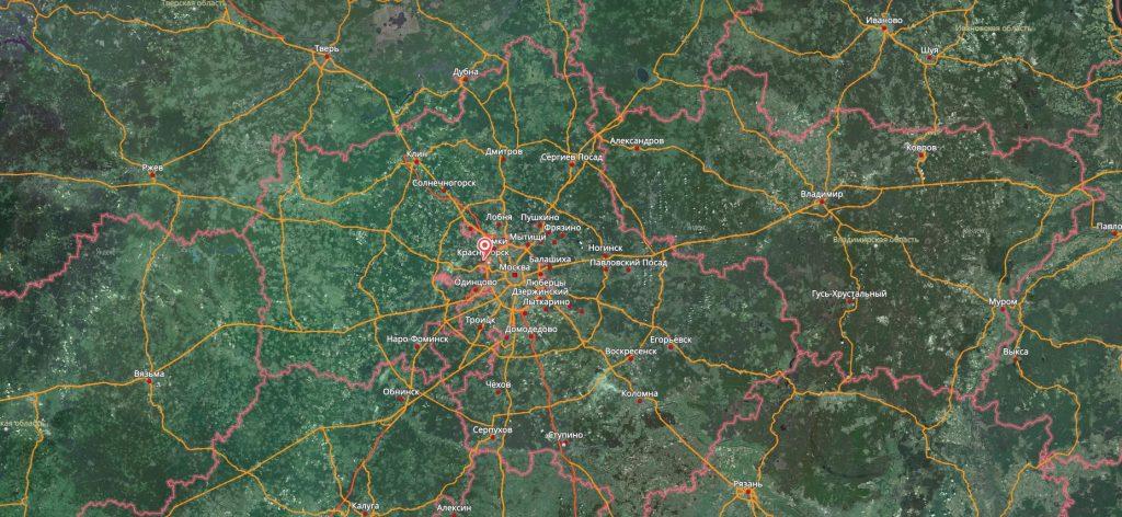 Красногорск на карте России