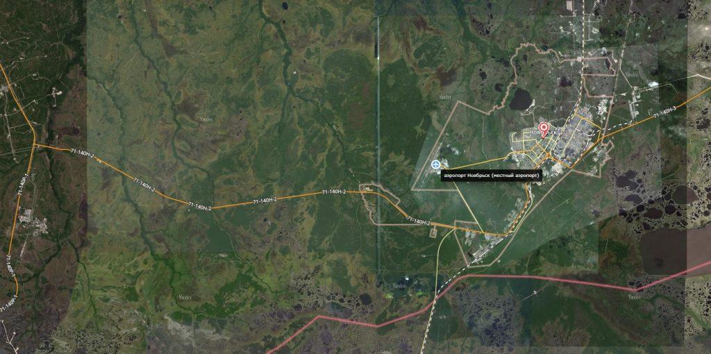 Карта города Ноябрьск с дорогами
