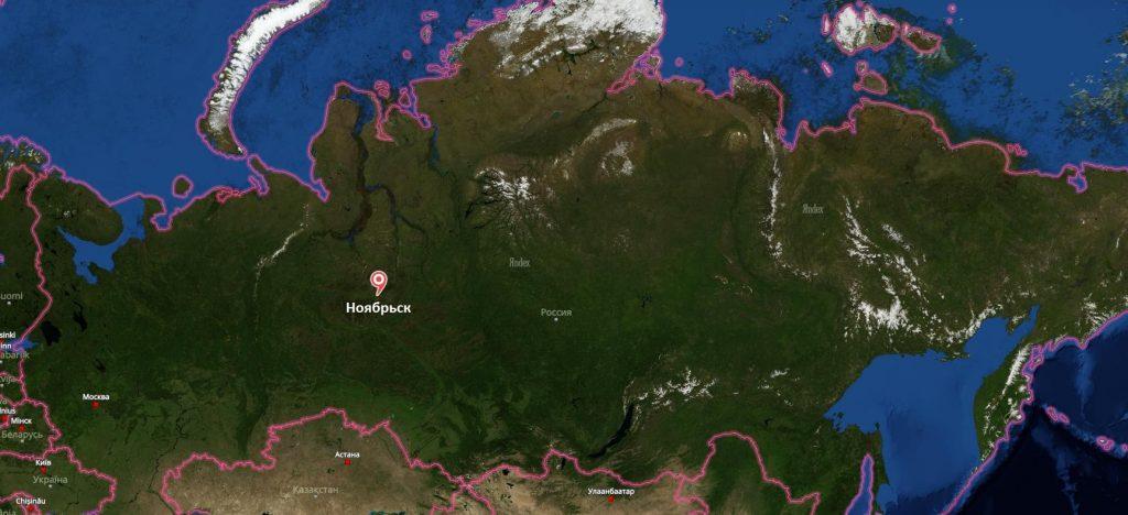 Ноябрьск на карте России