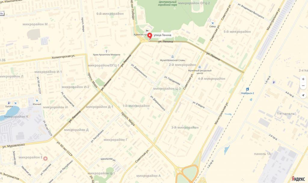 карта Улицы Ленина Ноябрьска