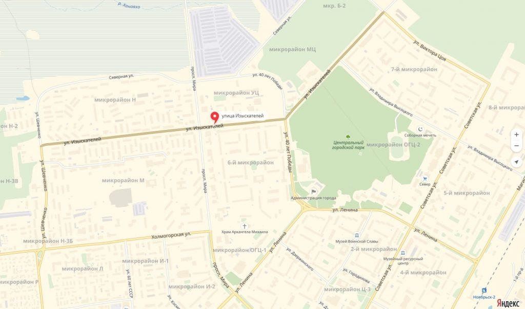 карта Улицы Изыскателей Ноябрьск